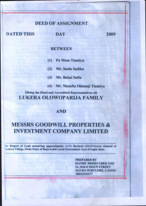 The Cover of the Deed of Assignment must show the parties to the transaction and the description of the land sold