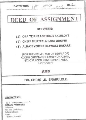 Deed of assignment for property