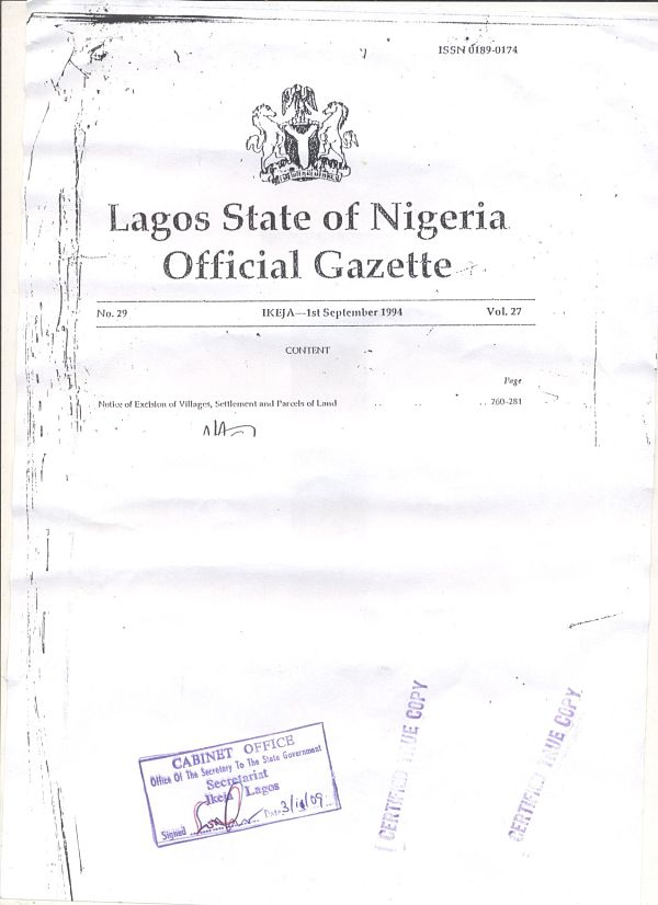The Cover of the Gazette must include the Number of the Gazette, Page of the Gazette and Volume of the Gazette. It must also Include the Date and Location it was issued