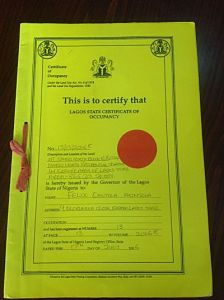 A LAGOS STATE GOVERNMENT RESIDENTIAL CERTIFICATE OF OCCUPANCY