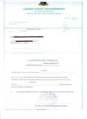 A Sample Land Information Certificate that shows the Land is free from Government Acquisition and is a safe land.