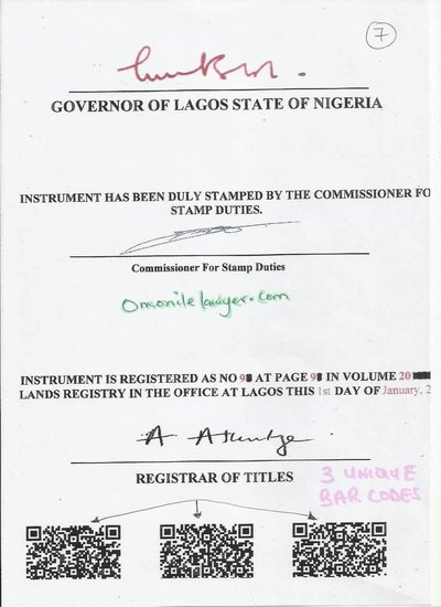 It has 3 more Unique 2D Barcodes on the last page that has the signatures of the Governor, Commissioner of Stamp Duties and Registrar of Titles to help prevent fraud