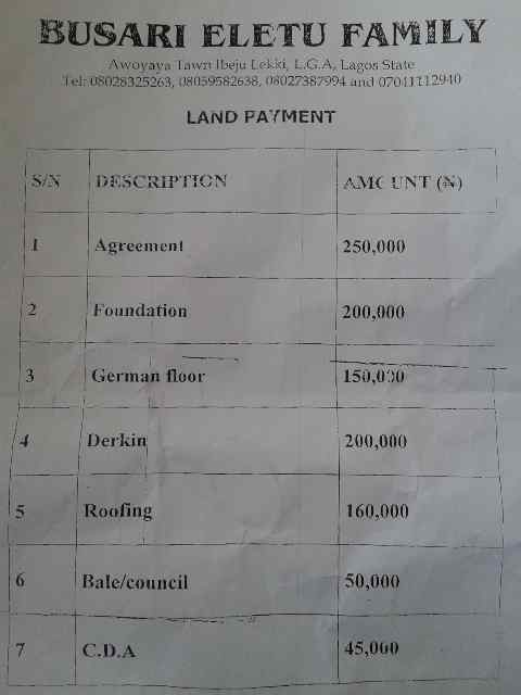 This is a Real Life Sample of an Omonile Demand list for Land Payments before you can take possession of your own land after you have paid Millions to Acquire it. Without you even shelling out 1Kobo on their Land, You are required to pay over N1Million Naira for very senseless and Stupid things. Can you Imagine this Day light Robbery?
