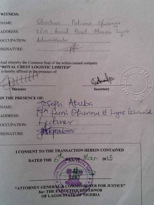 How a Signed Governor's Consent Looks like after all the fees has been paid and properly registered at the Land Registry