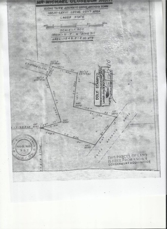 Awoyaya Survey plan measuring 1249 square meters which the Land registry used to calculate the Consent fees
